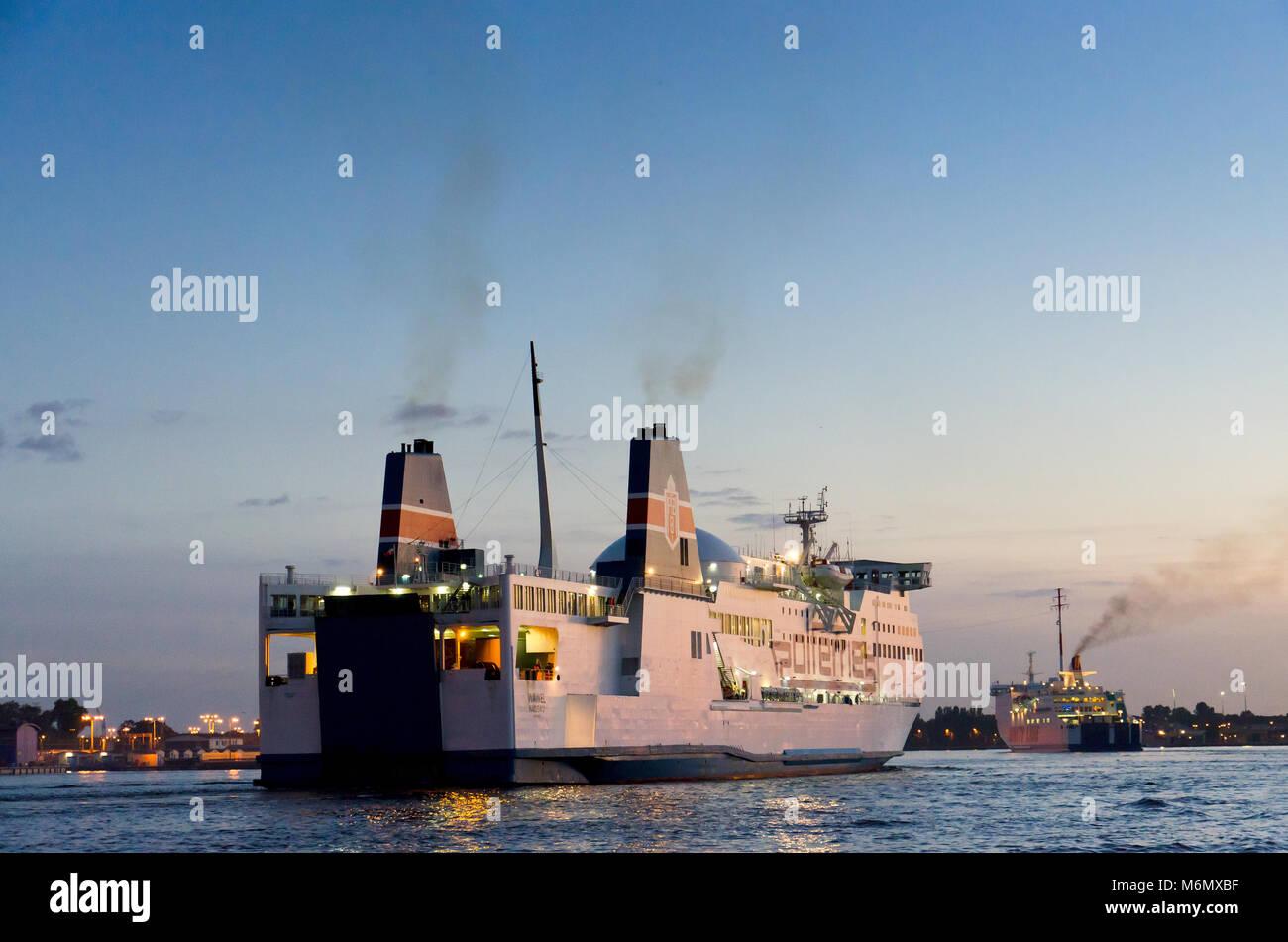 Ferryboat on Swina river in town of Swinoujscie, Uznam island, Westpomeranian voivodeship, Poland Europe. Stock Photo