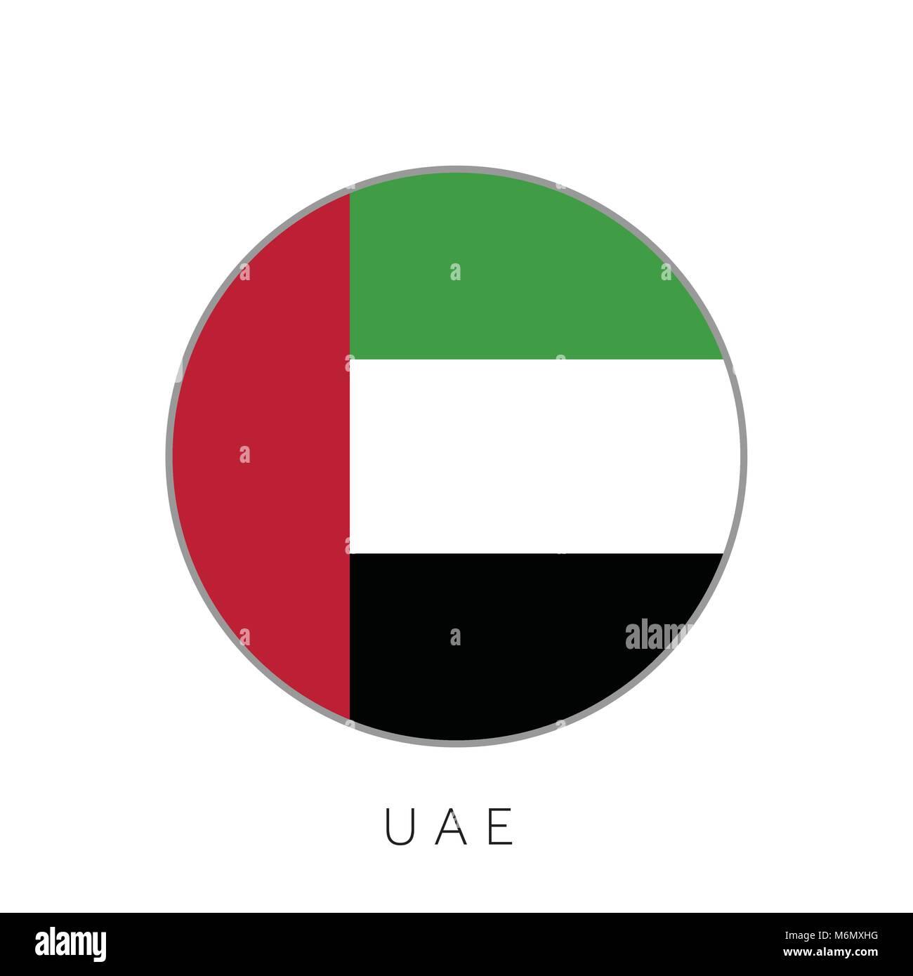 United Arab Emirates flag round circle vector icon - Stock Image