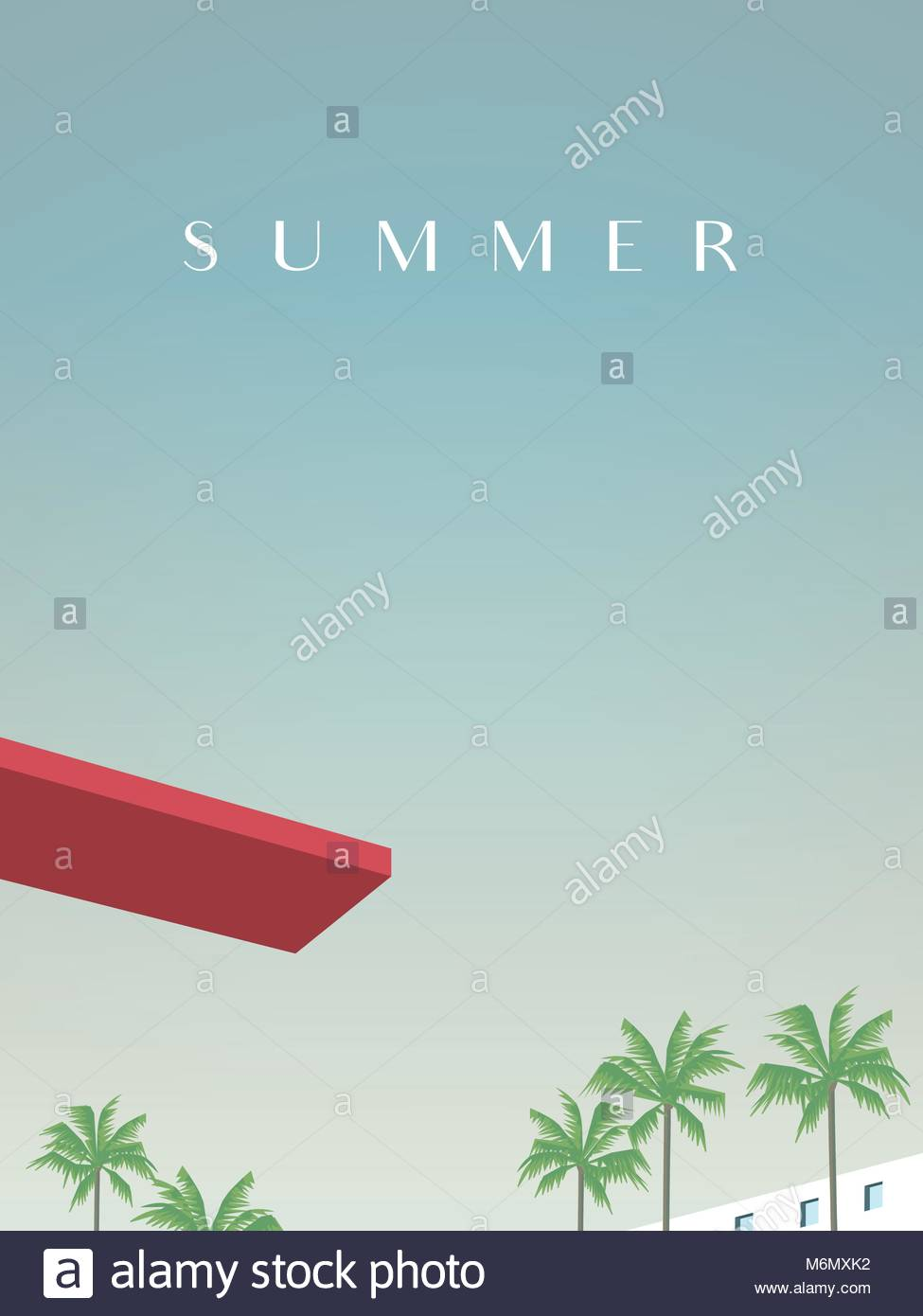 Summer retro vintage poster vector template with jumping board over ...