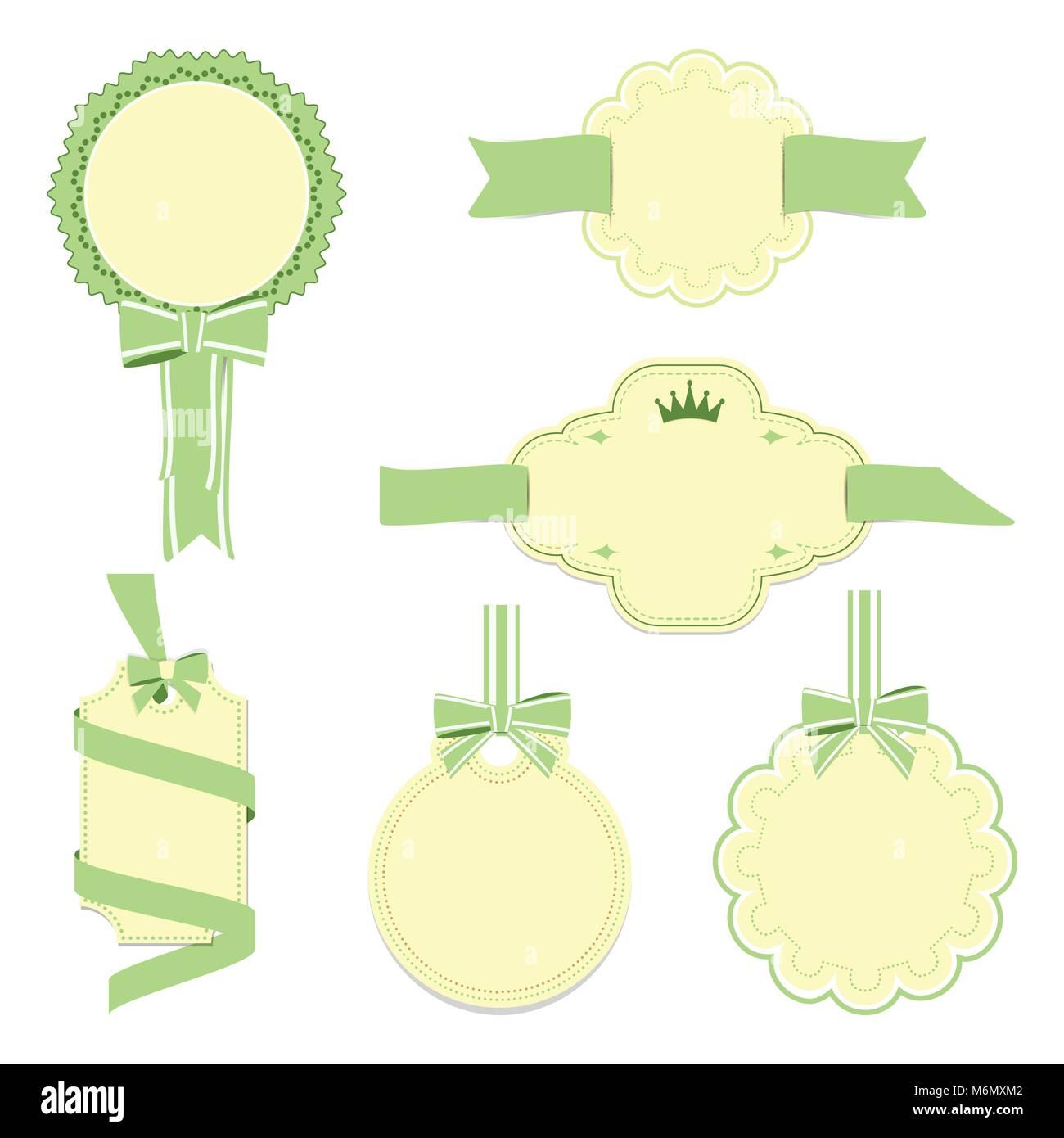 Set of yellow and green badges label and ribbon, Greeting card, vector tag illustration Stock Vector