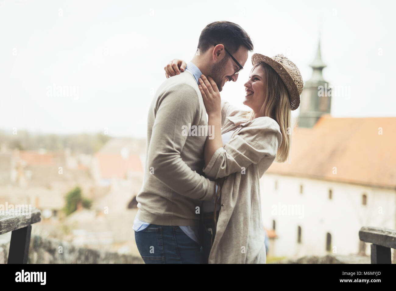 True love soulmates intimate at park and happy - Stock Image