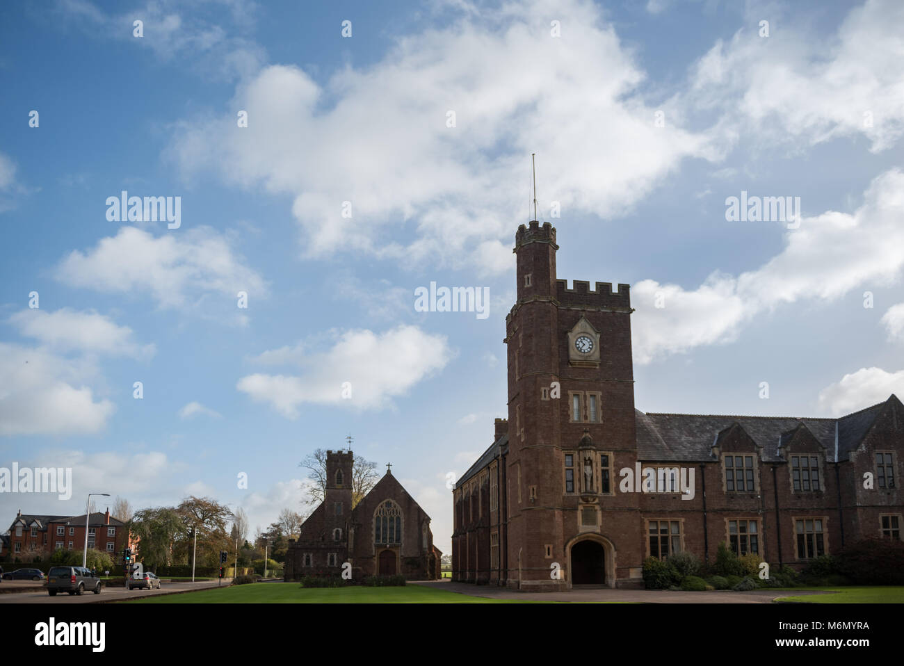 Blundell's School under a blue sky - Stock Image