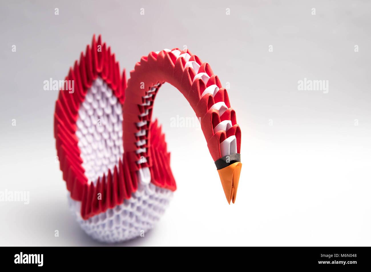 3d Origami Swan Bird Red