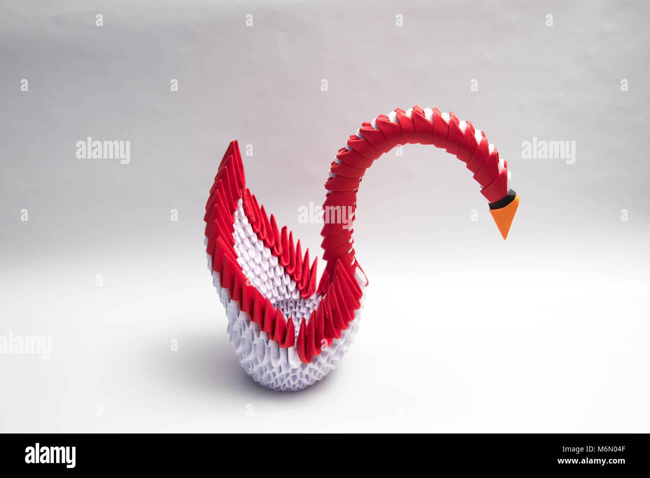 3D origami diamond pattern swan tutorial   3d 折り紙, 折り紙   956x1300