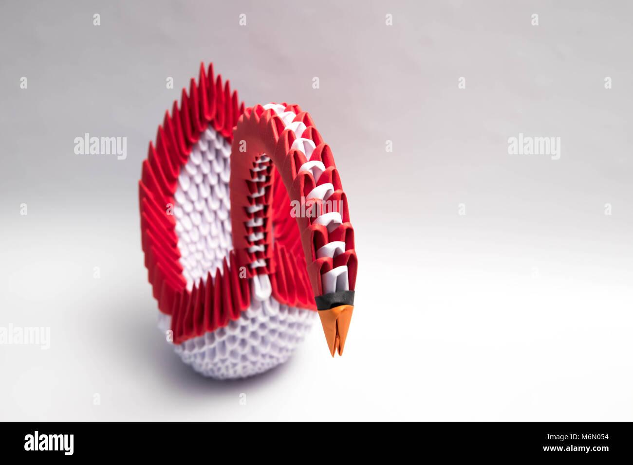 3d Origami Swan Bird Red Stock Photo 176252752 Alamy