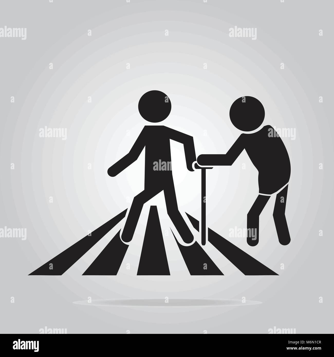 pedestrian crossing sign, elderly crossing road sign vector illustration - Stock Vector