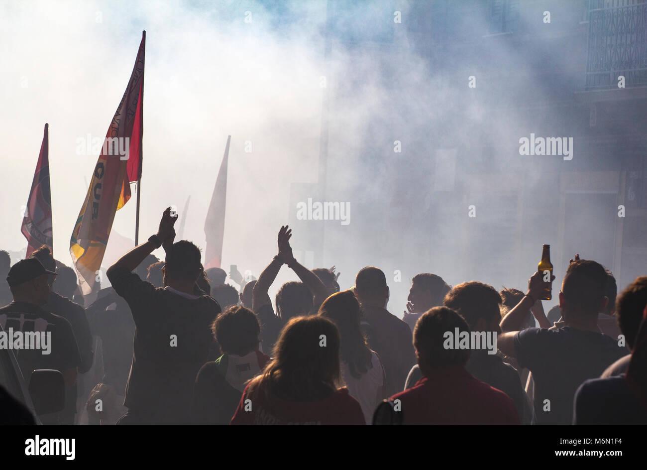 Savona, Italy - October 15, 2017: Popular anti-racist demonstration, organized in the City of Savona. - Stock Image