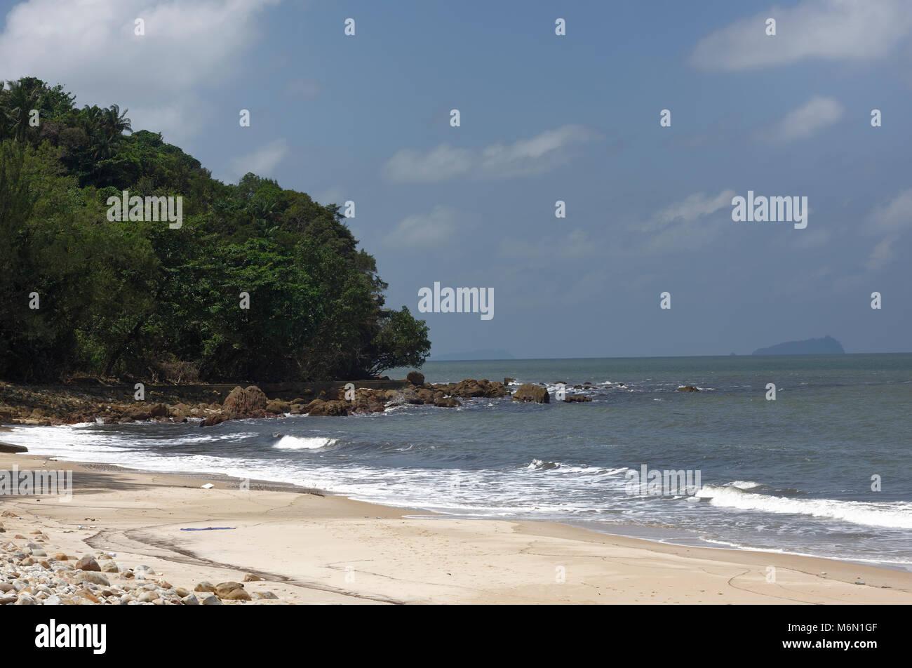 Damai Beach, facing the South China Sea, Kuching, Sarawak, Malaysia - Stock Image