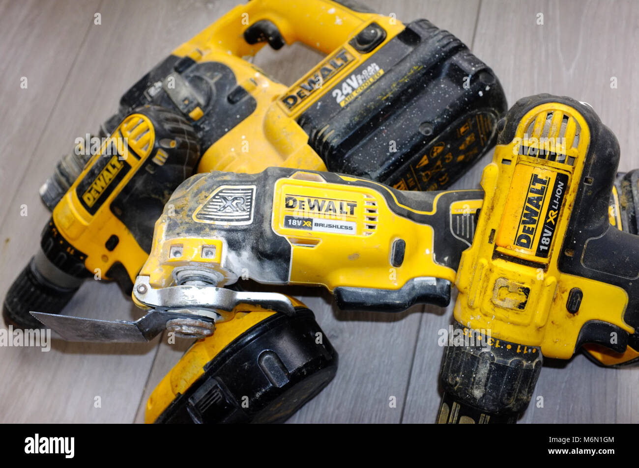 DeWalt yellow power tools as used by builders and trades people. - Stock Image
