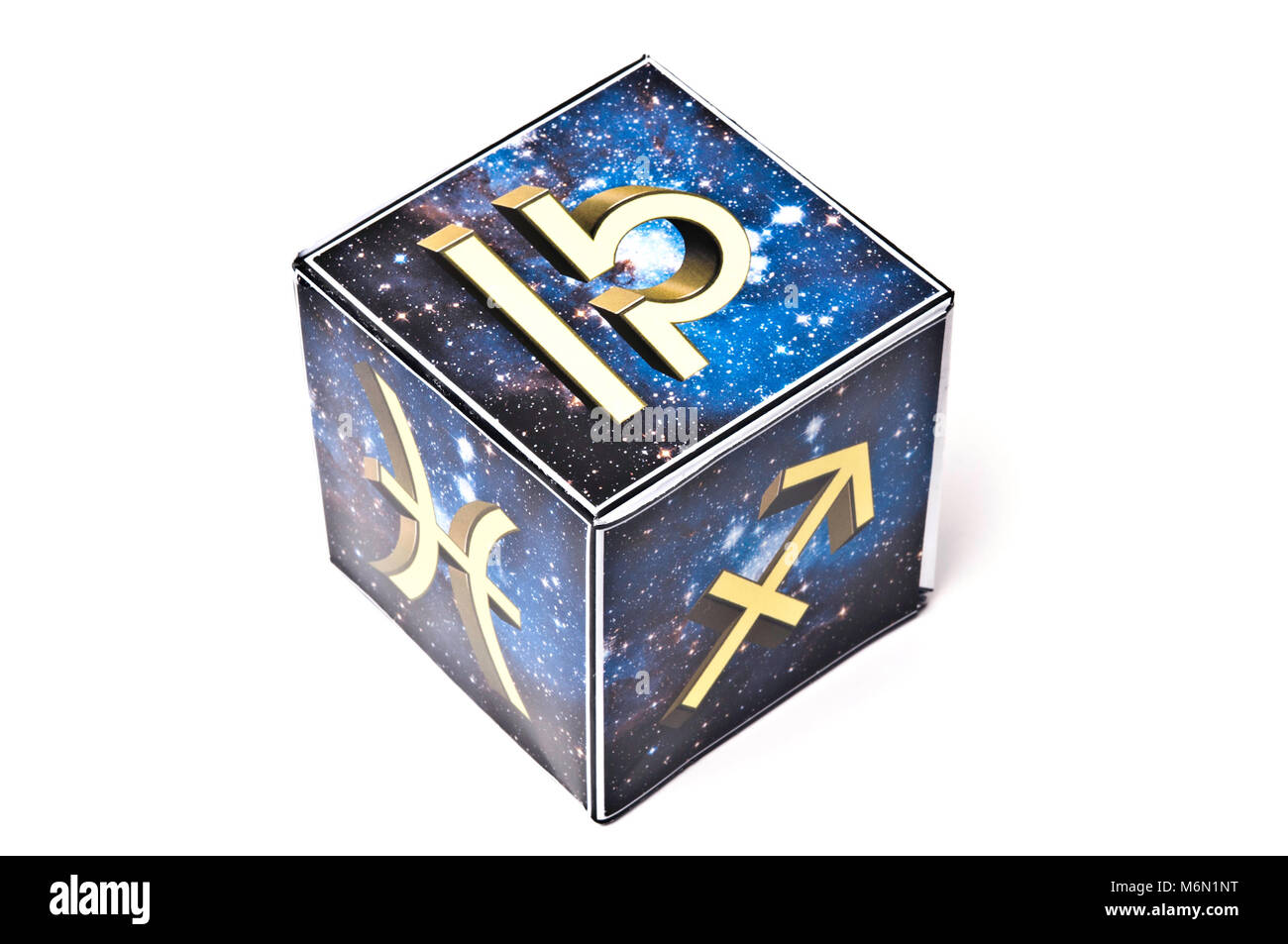astrology cube with signs of the zodiac - Stock Image