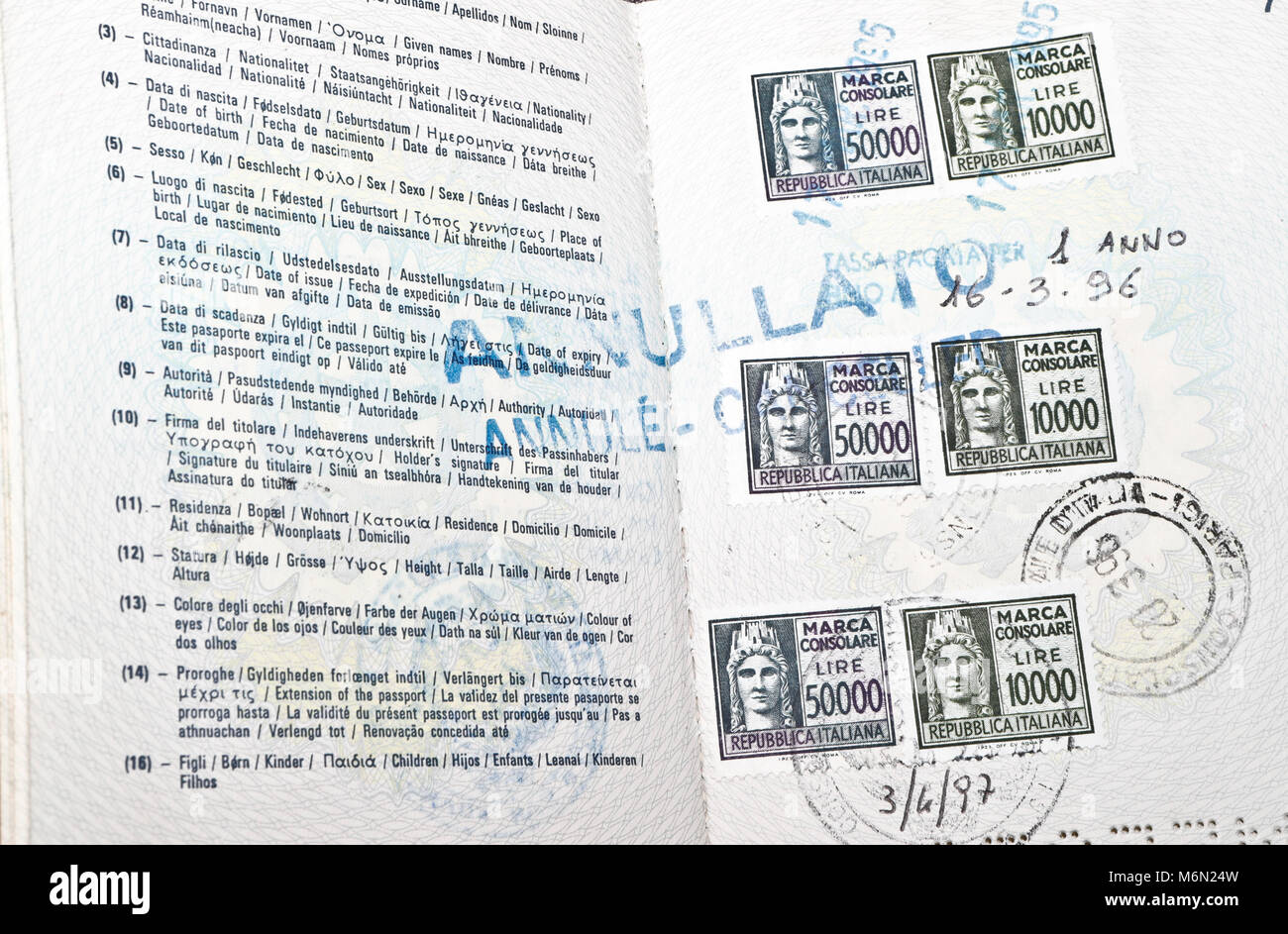Inside cover of a Italian Passport with visa stamps Stock Photo