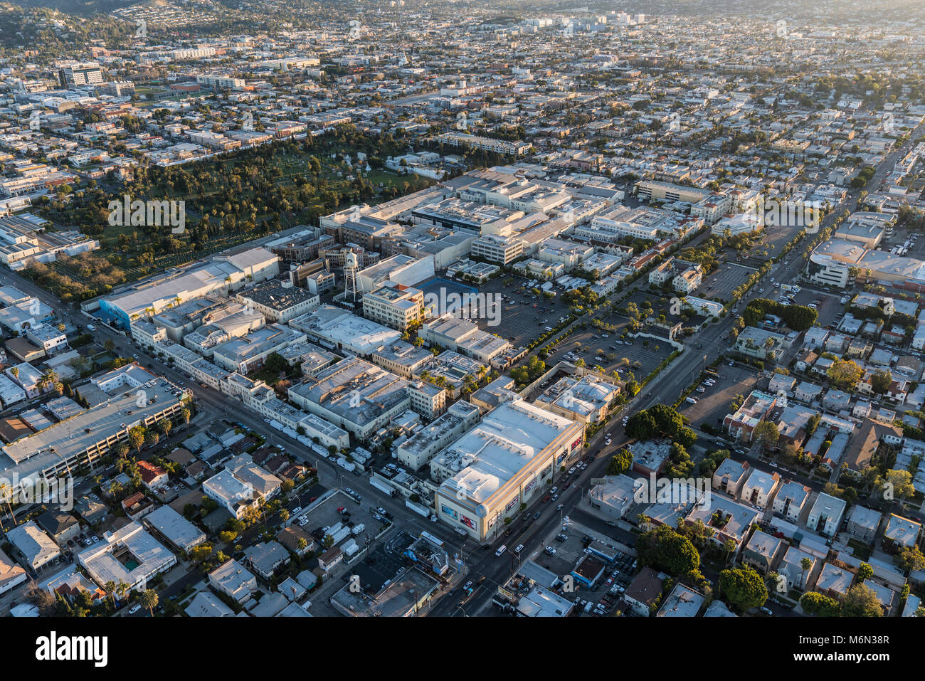 Los Angeles, California, USA - February 20, 2018:  Aerial view of Hollywood and Paramount Pictures Studio on Melrose - Stock Image