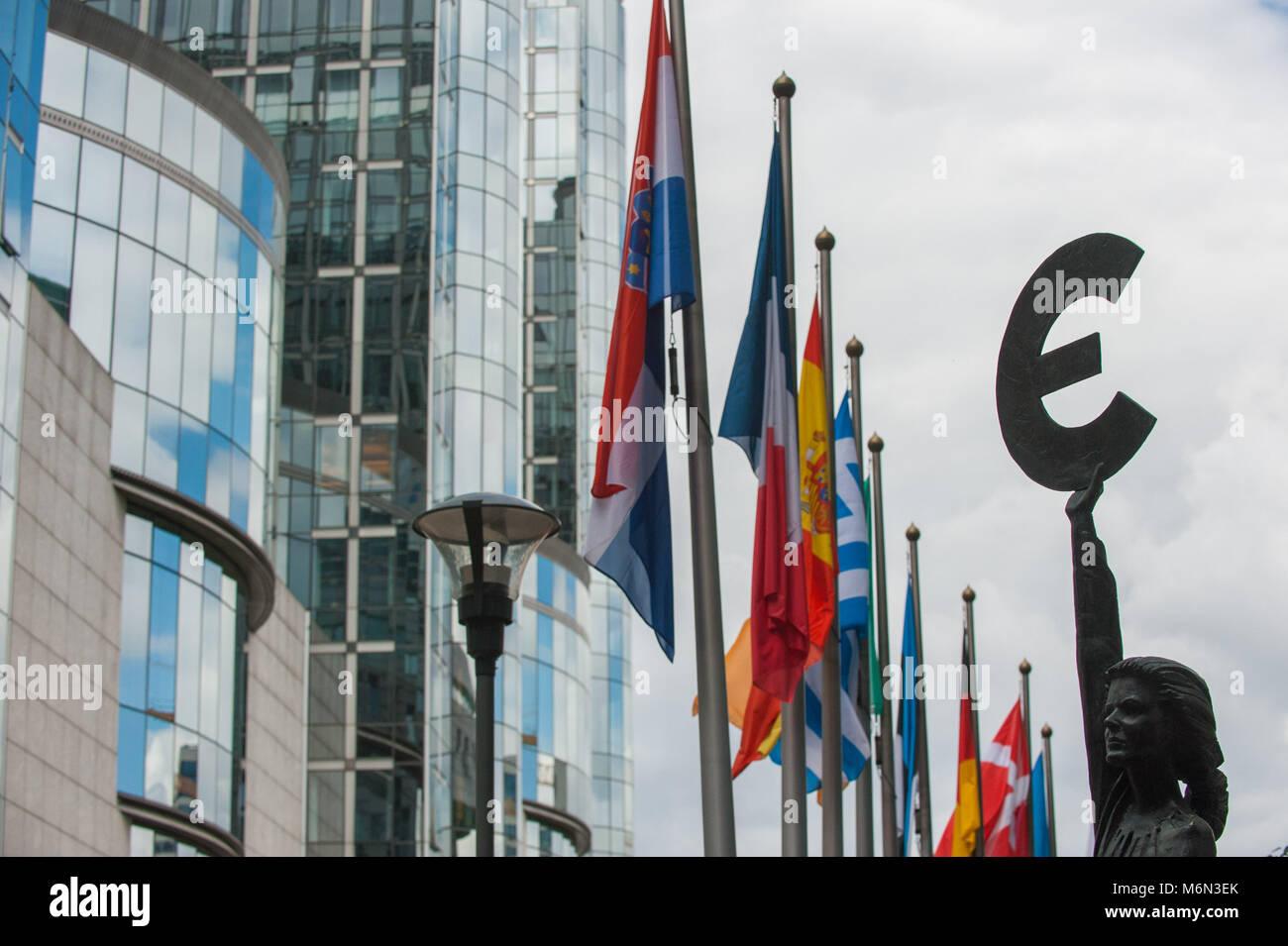 Bruxelles, European Parliament. Belgium. - Stock Image