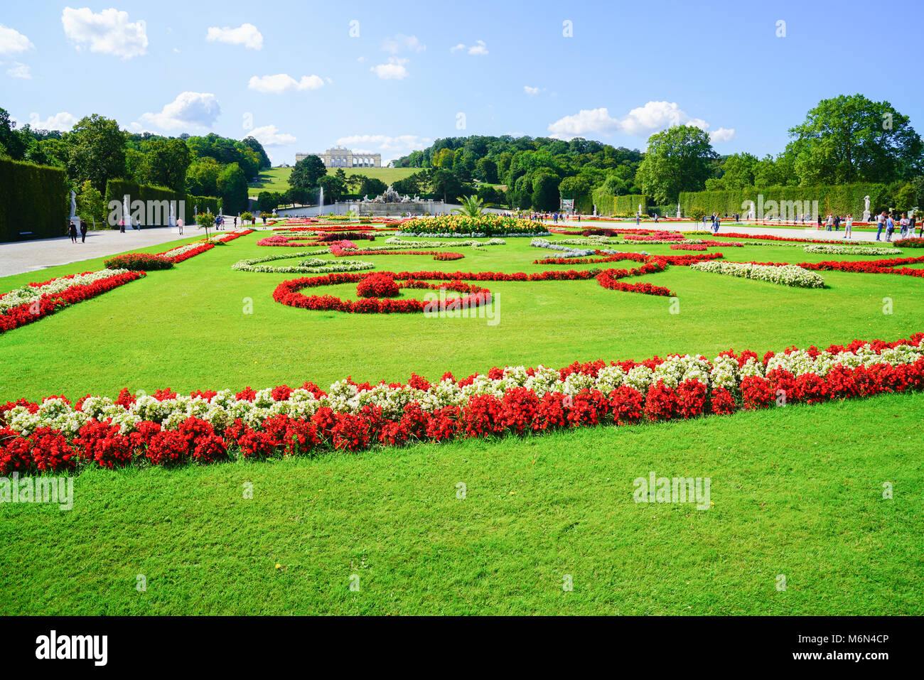 VIENNA,AUSTRIA - SEPTEMBER 4 2017; Landscape of formal gardens leading to distant Gliorriete baroque structure on - Stock Image