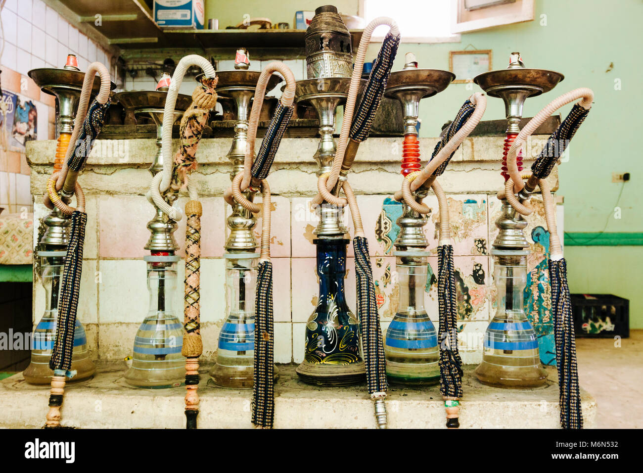 Narguile waterpipes in the kitchen of a small hotel in Dakhla oasis, Egypt - Stock Image