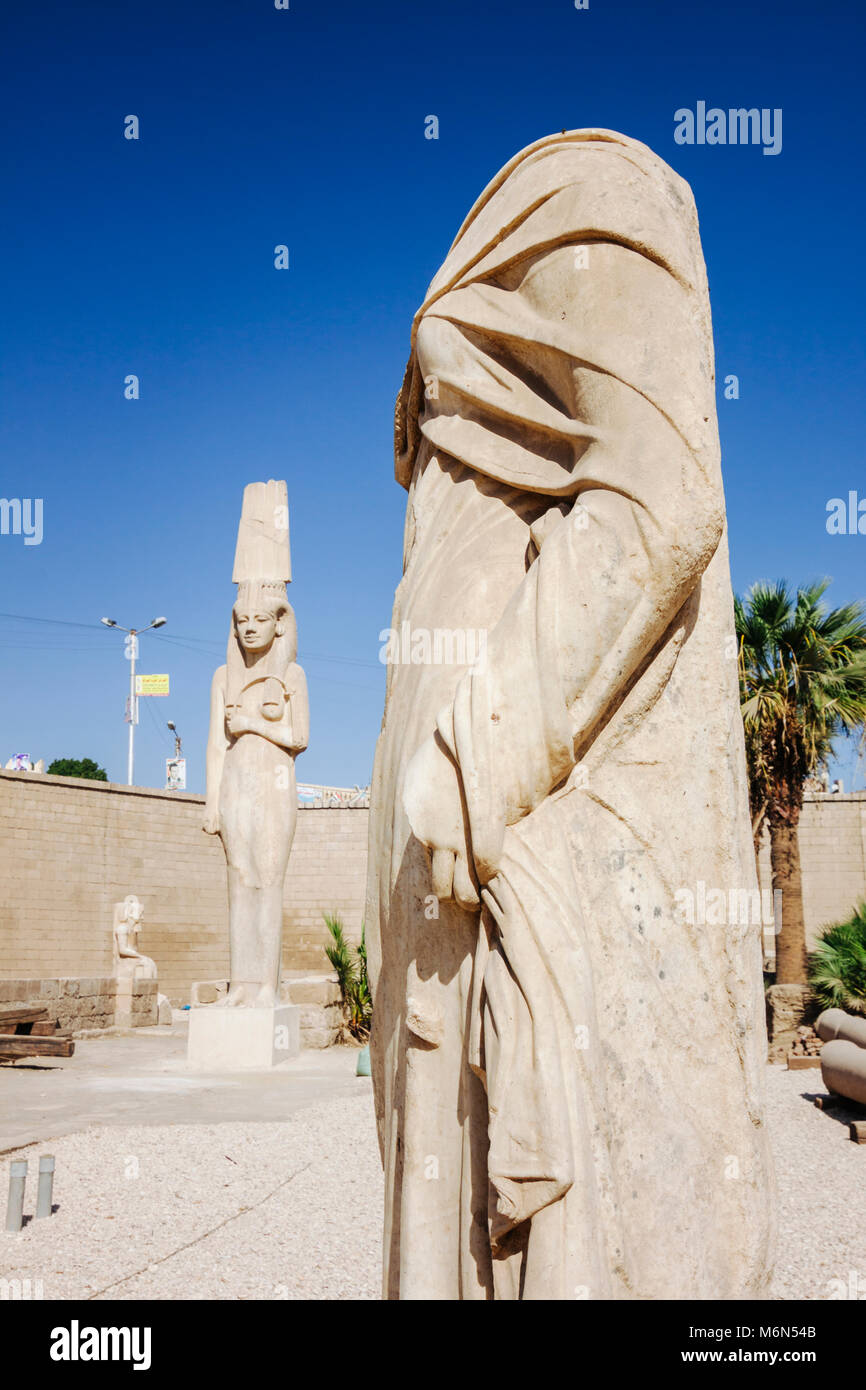 Akhmin, Sohag Governorate, Egypt. 11m high statue of Meret Amun (XIII c. BC) the tallest of an ancient queen discovered - Stock Image