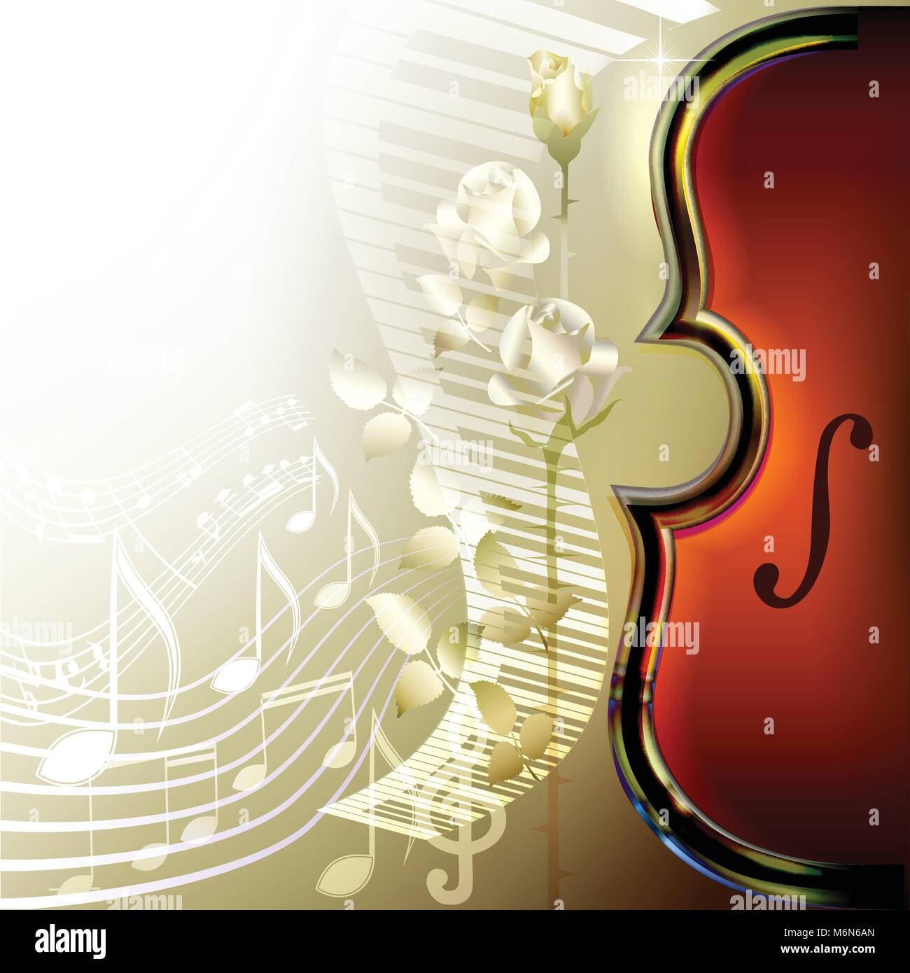 Piano Background Music: Classical Orchestra Poster Stock Photos & Classical