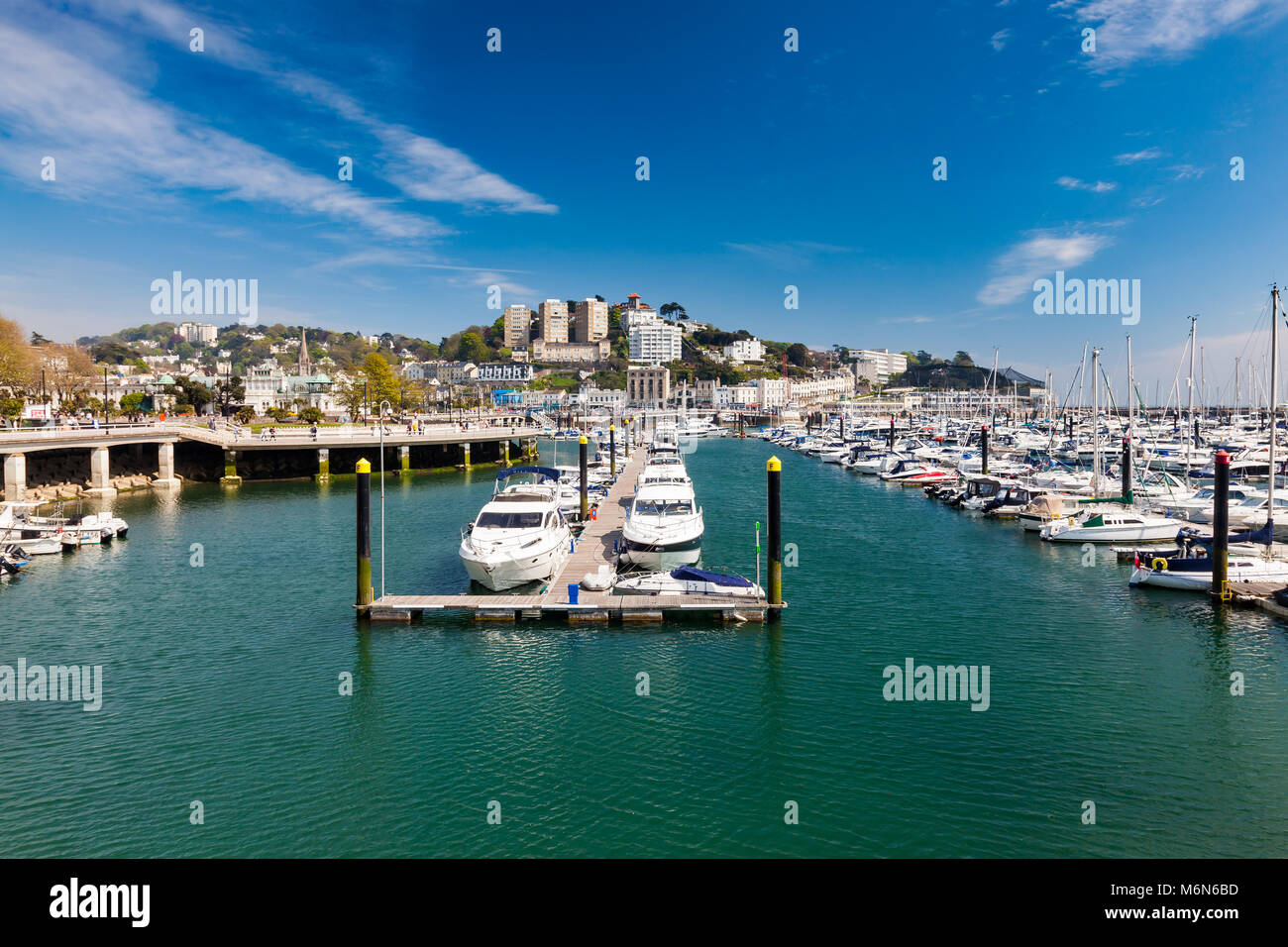 TORQUAY, UNITED KINGDOM - 7th of May 2016 - Summer at Torquay Harbour & Marina Devon England UK a popular tourist Stock Photo