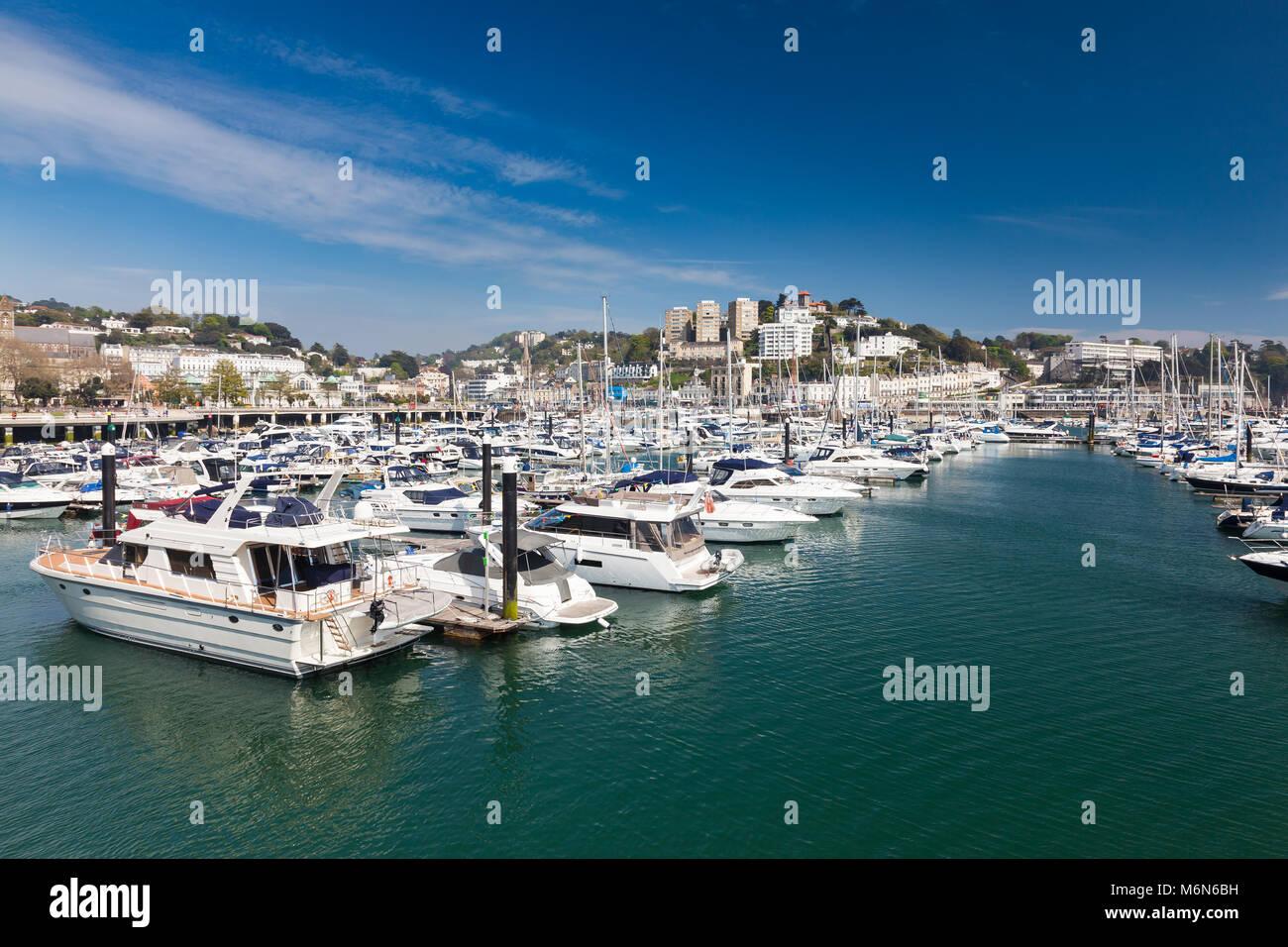 TORQUAY, UNITED KINGDOM - 7th of May 2016 - Summer at Torquay Harbour & Marina Devon England UK a popular tourist Stock Photo