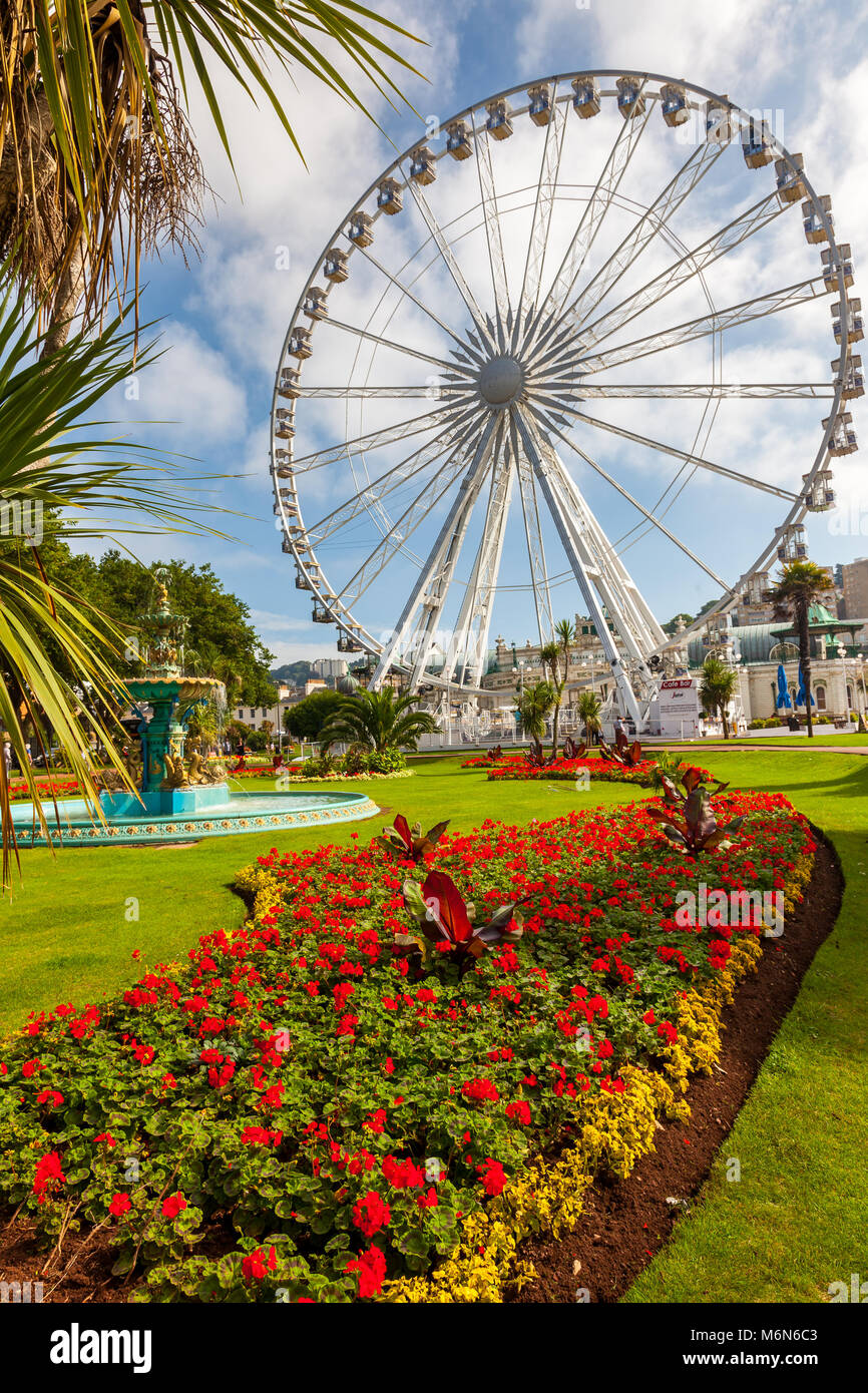 TORQUAY, UNITED KINGDOM - 20th of September 2016 -  English Riviera Wheel a 60 foot ferris wheelin Torquay Devon - Stock Image