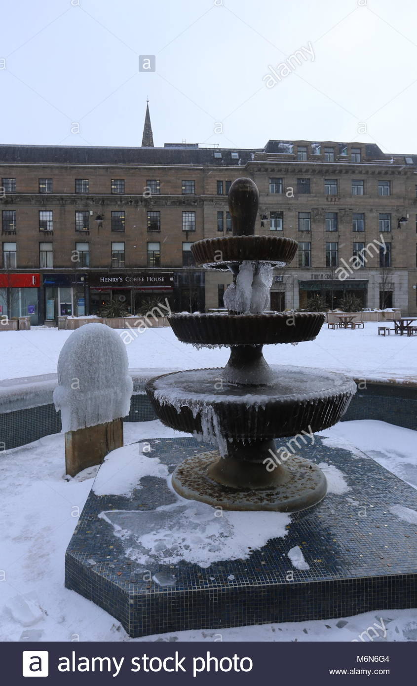 Frozen fountains City Square Dundee Scotland  March 2018 - Stock Image