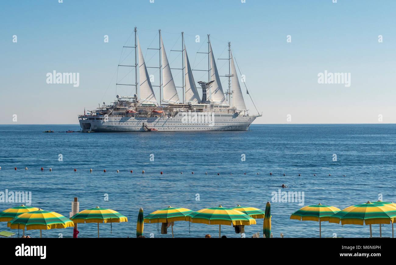 Wind Surf cruise ship moored in Amalfi Bay, Italy. - Stock Image