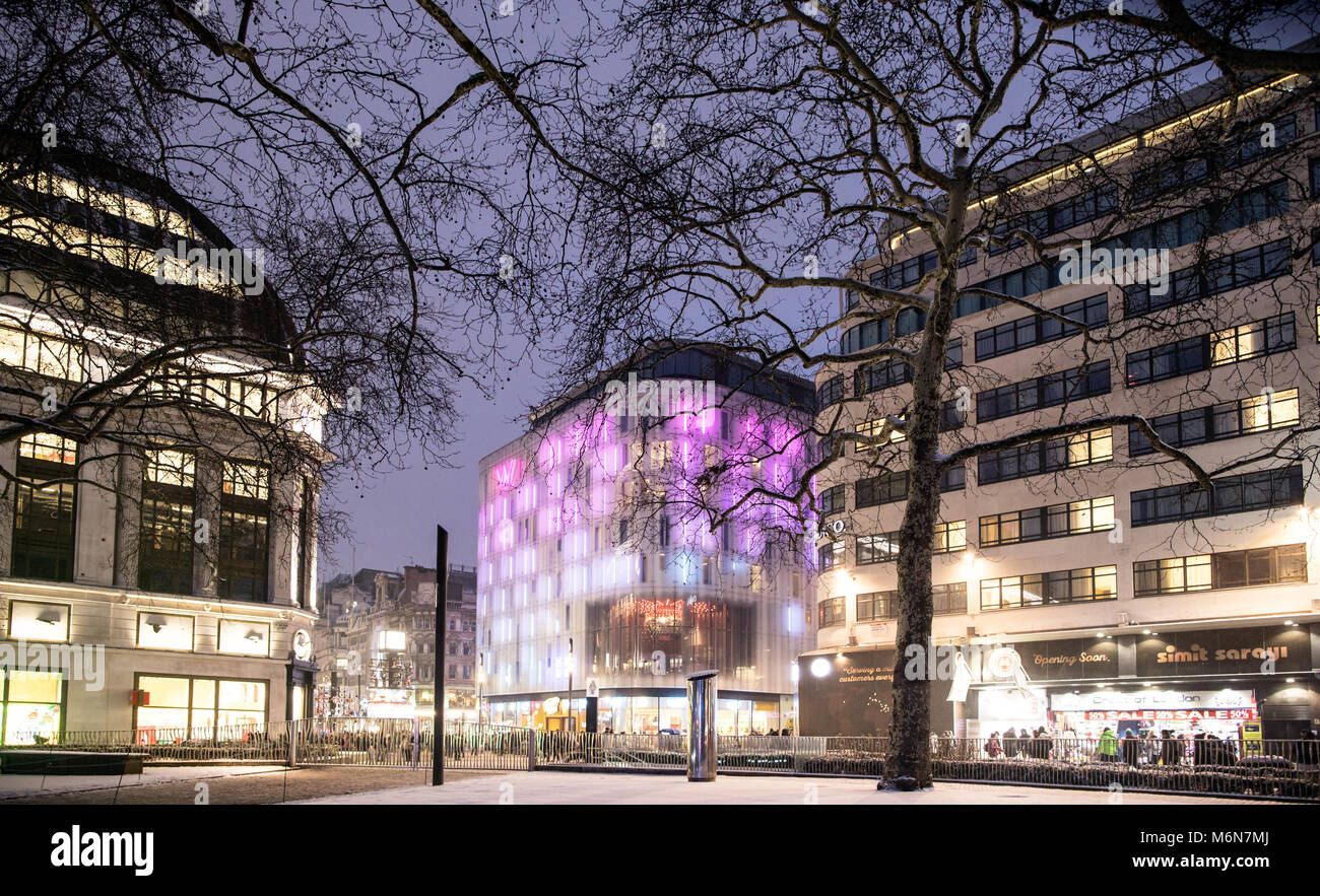 Leicester Square At Night In The Snow London UK - Stock Image
