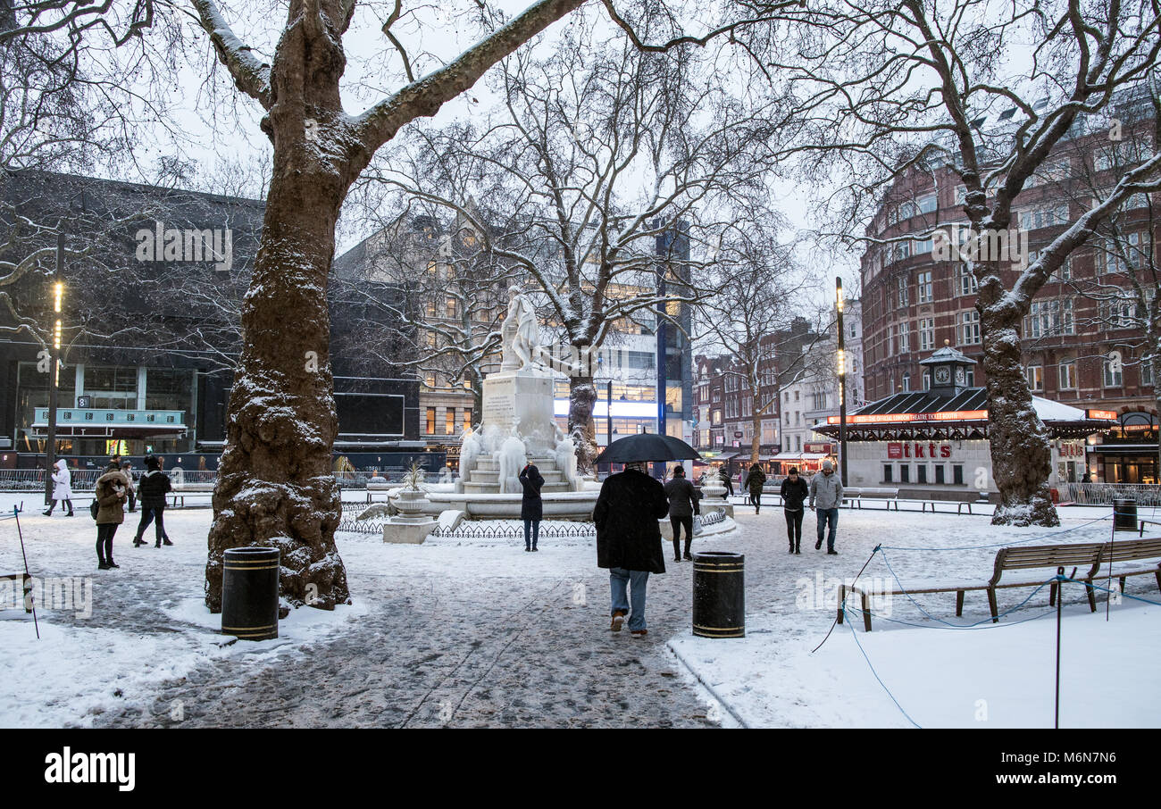 Leicester Square In The Snow At Night London UK - Stock Image
