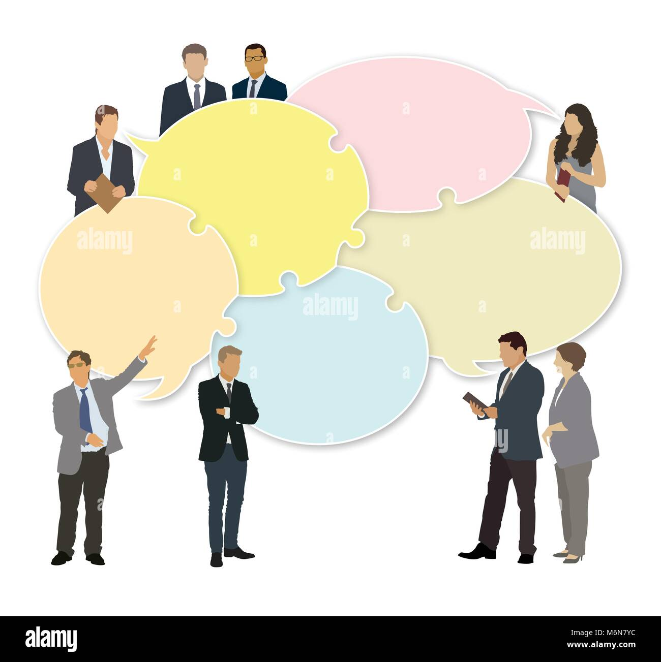 Good business team. The members of the team think differently, but they are talking together. - Stock Vector