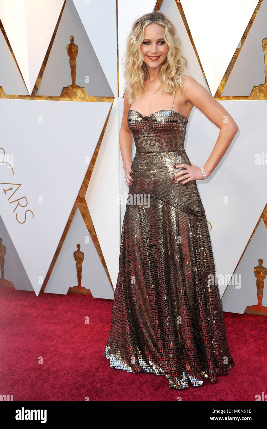 Hollywood, USA. 04th Mar, 2018. Jennifer Lawrence attending the 90th Annual Academy Awards at Hollywood & Highland - Stock Image