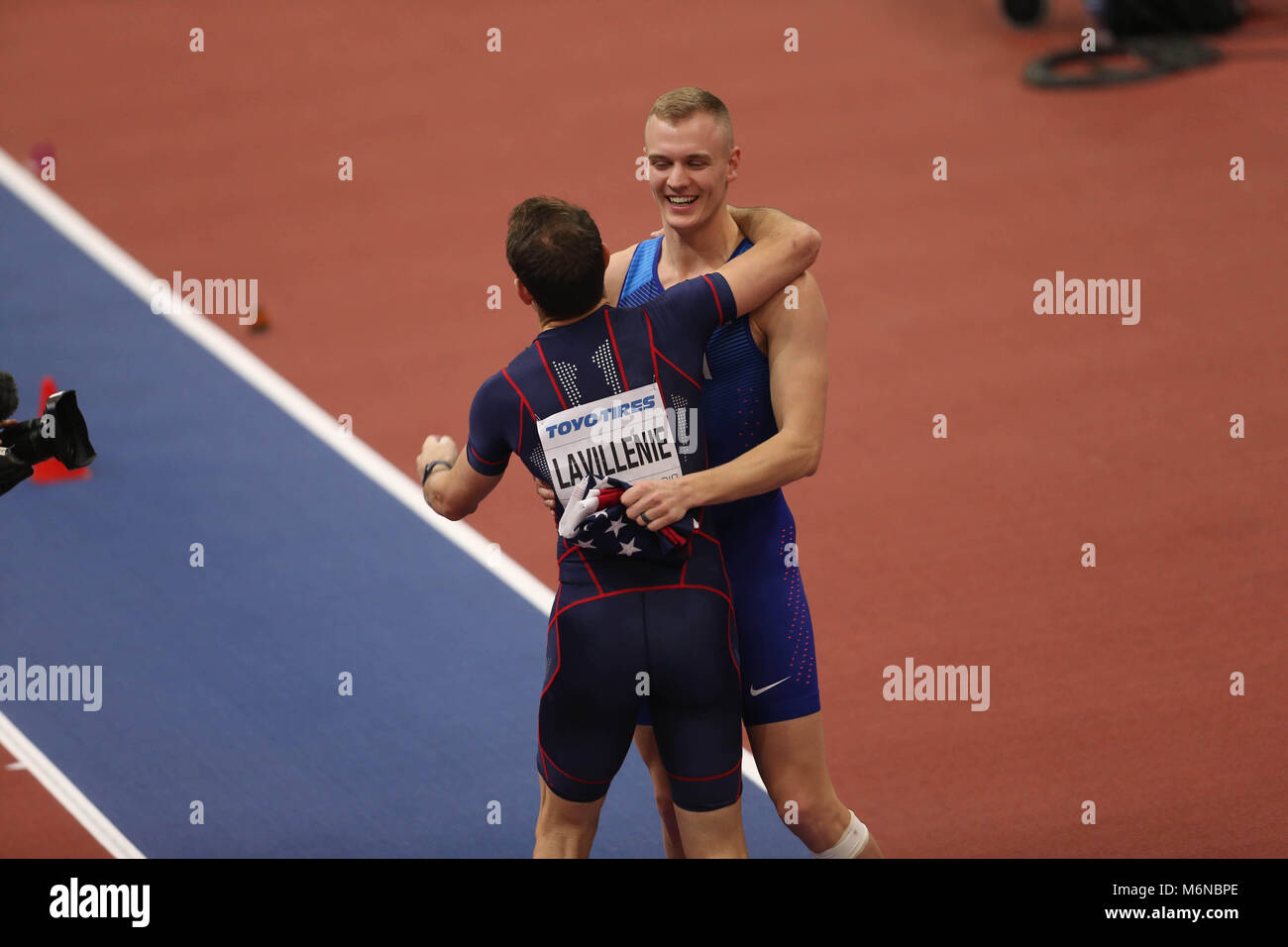 Birmingham, UK. 4th March, 2018. Renaud LAVILLENIE (Gold Medal) (FRANCE) and Sam KENDRICKS (Silver Medal) (USA) - Stock Image