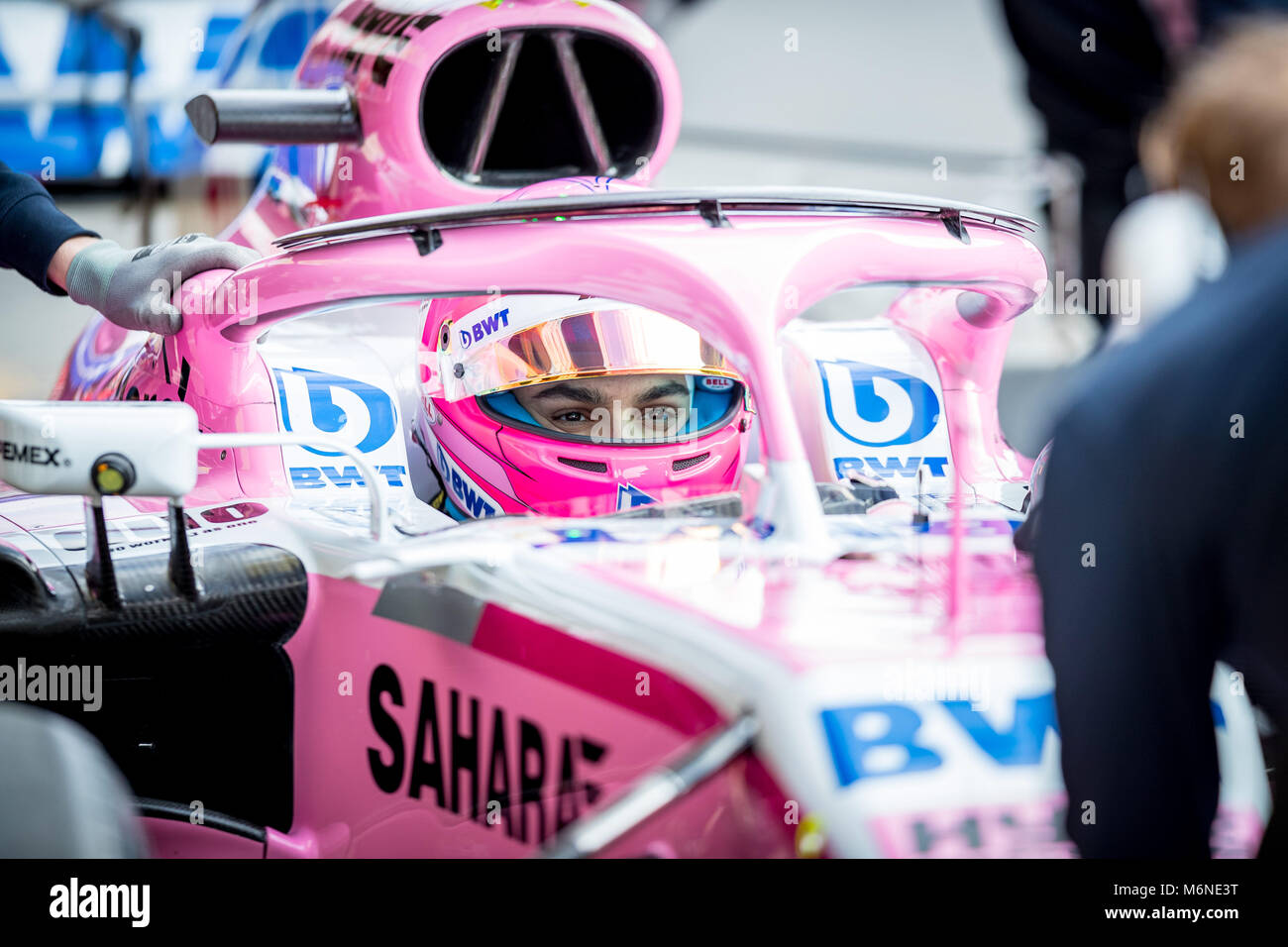 February 27, 2018 - Montmelo, Catalonia, Spain - Ocon, Force India F1 Team's driver seen during day 2 of the - Stock Image