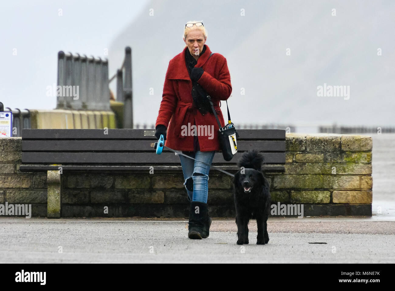 West Bay, Dorset, UK.  5th March 2018.  UK Weather.  A dog walker walking along the seafront in the rain at West Stock Photo