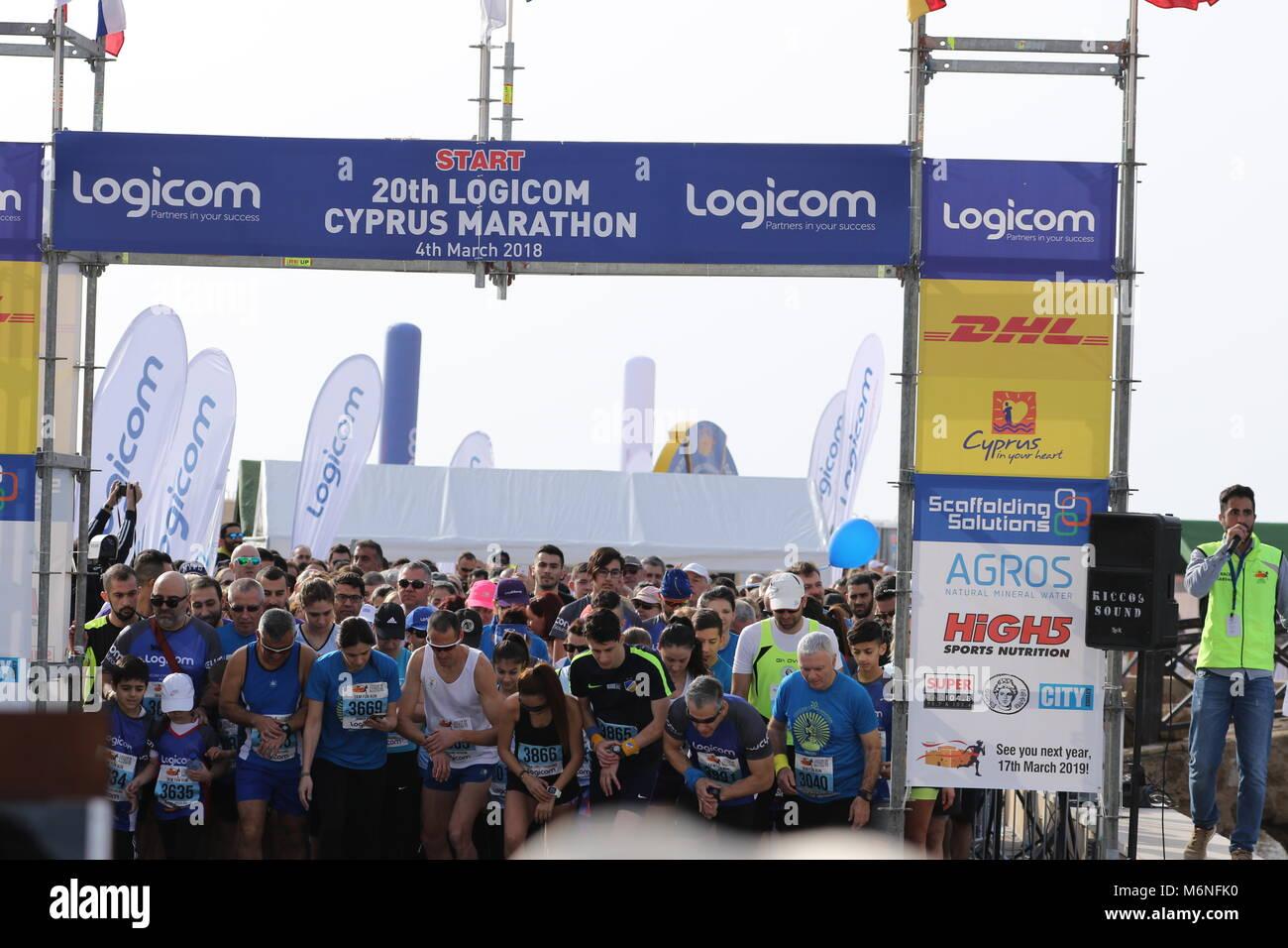 20th Logicom Cyprus marathon, half marathon, 10KM, 5KM (04/03/2018), Paphos, Cyprus, Europe - Stock Image