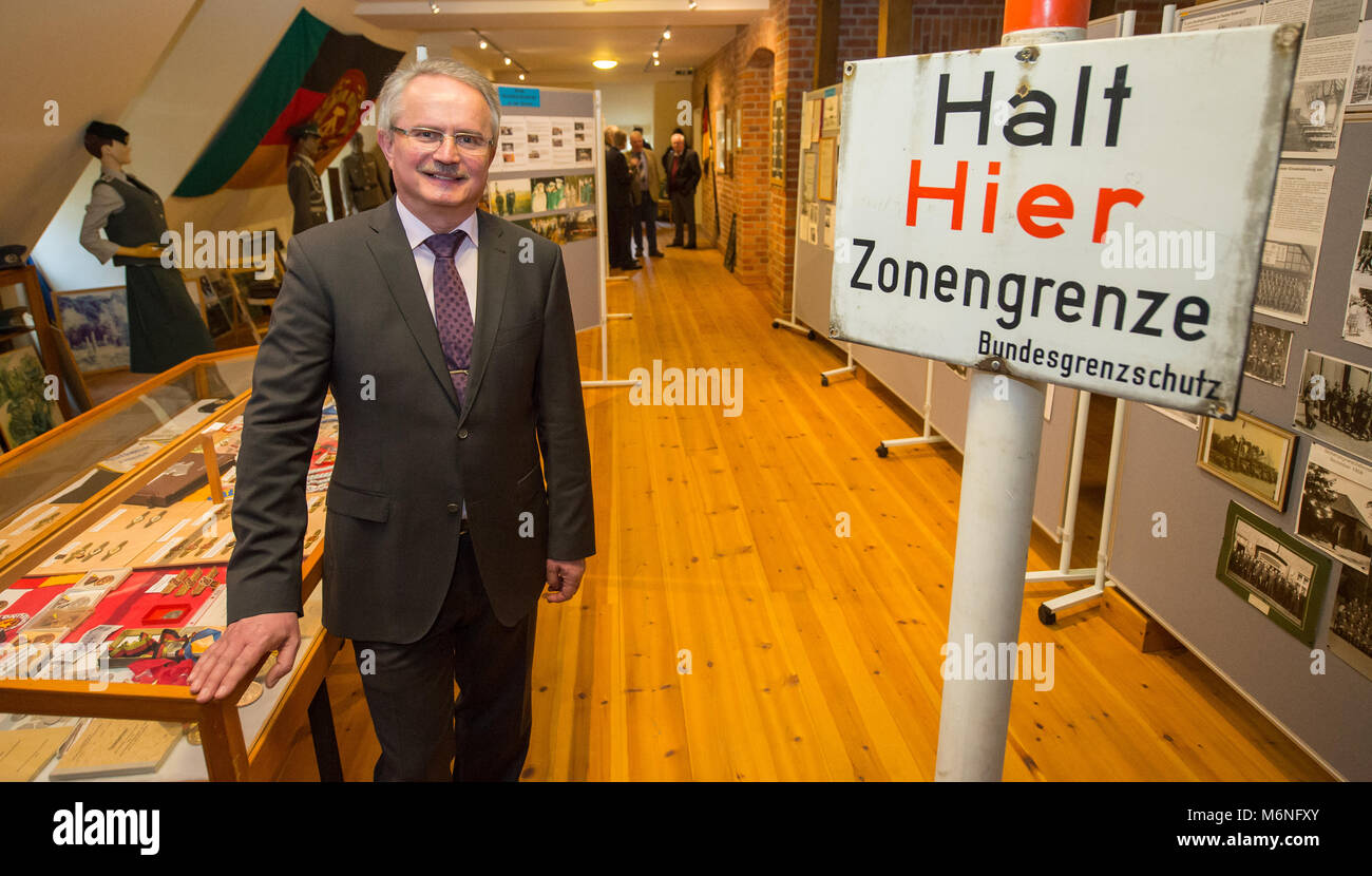 24 February 2018, Germany, Bad Bodenteich: Museum director Karl-Theodor Meyer at the border museum. The new 'Museum - Stock Image