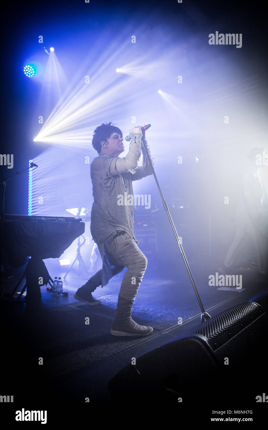 Norway, Oslo - March 4, 2018. The English singer, songwriter and composer Gary Numan performs a live concert at - Stock Image