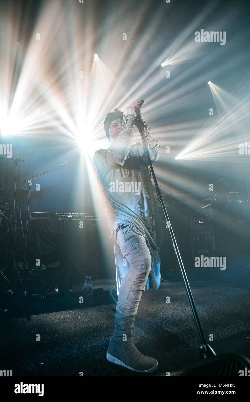 Norway, Oslo - March 4, 2018. The English singer, songwriter and composer Gary Numan performs a live concert at Stock Photo
