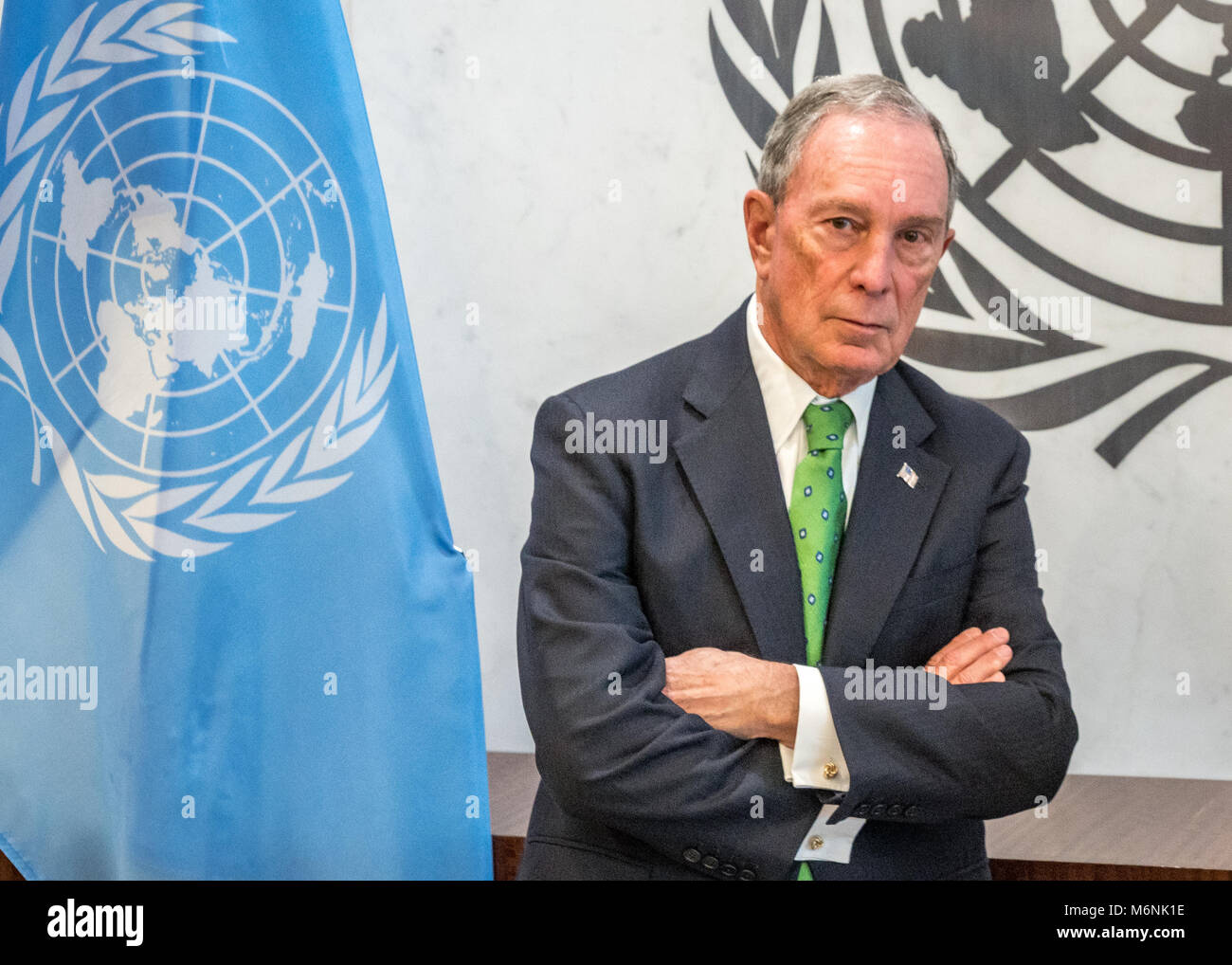 New York, USA, 5 Mar 2018. Former New York City Mayor Michael Bloomberg was re-appointed as UN Special Envoy for Stock Photo