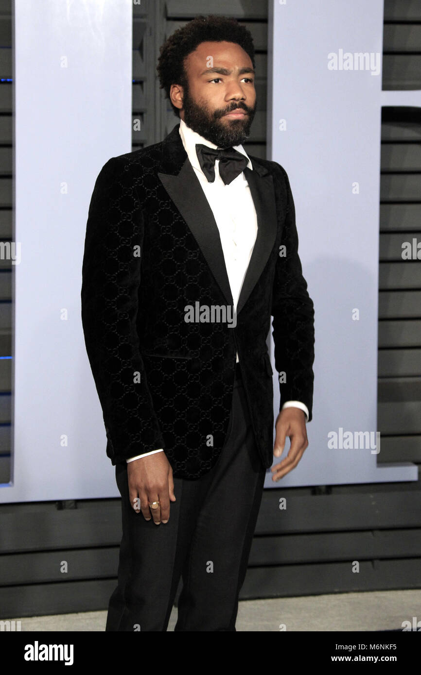 Donald Glover attending the 2018 Vanity Fair Oscar Party hosted by Radhika Jones at Wallis Annenberg Center for - Stock Image
