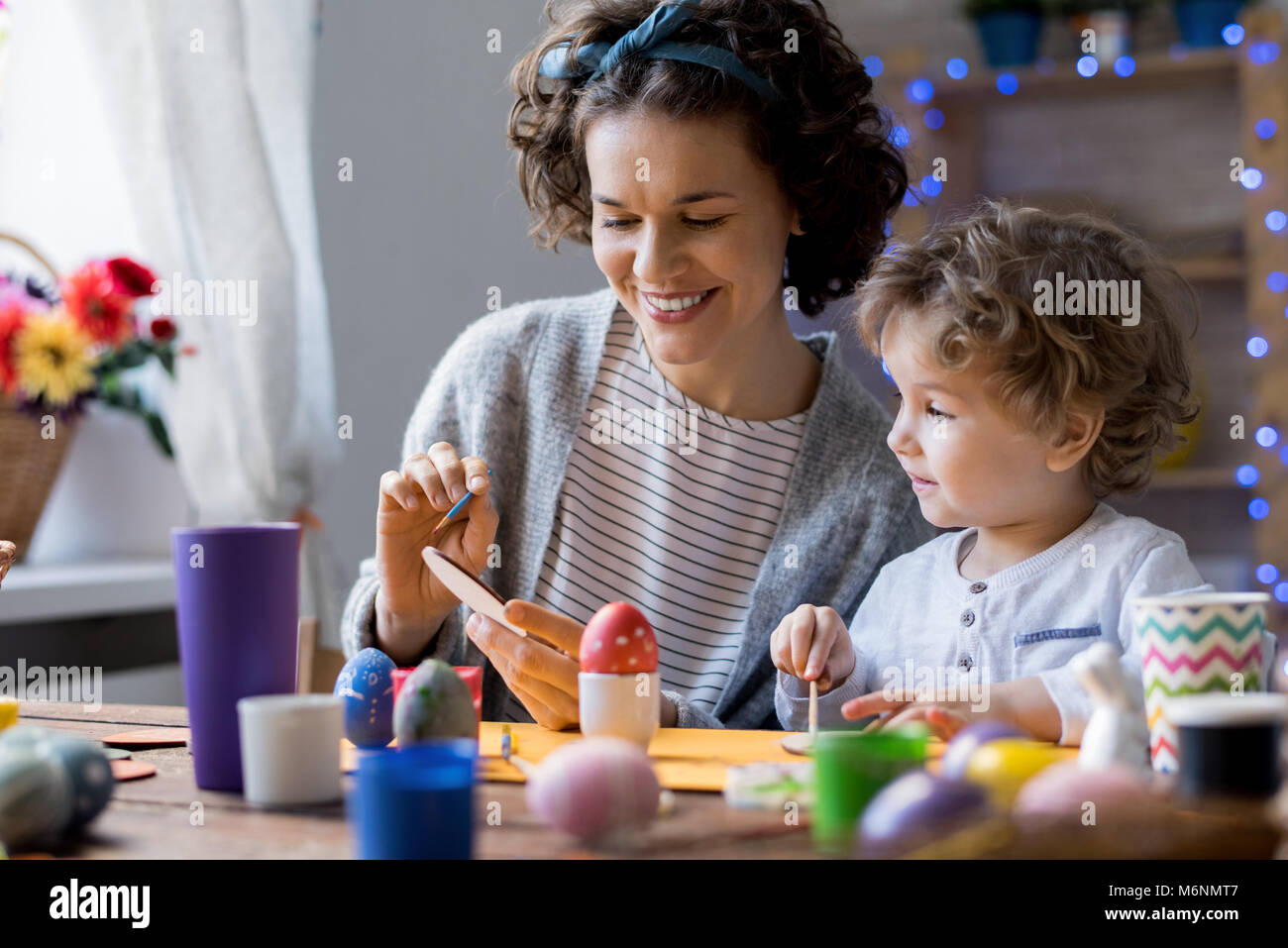 Mother and Child Crafting for Easter - Stock Image