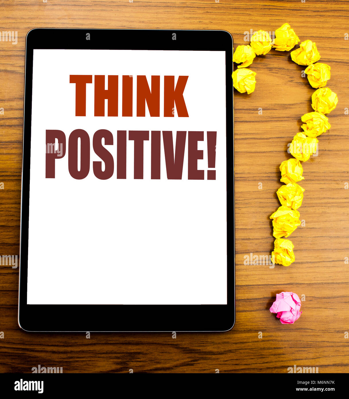 Handwriting Announcement text showing Think Positive. Business concept for Positivity Attitude Written on tablet Stock Photo