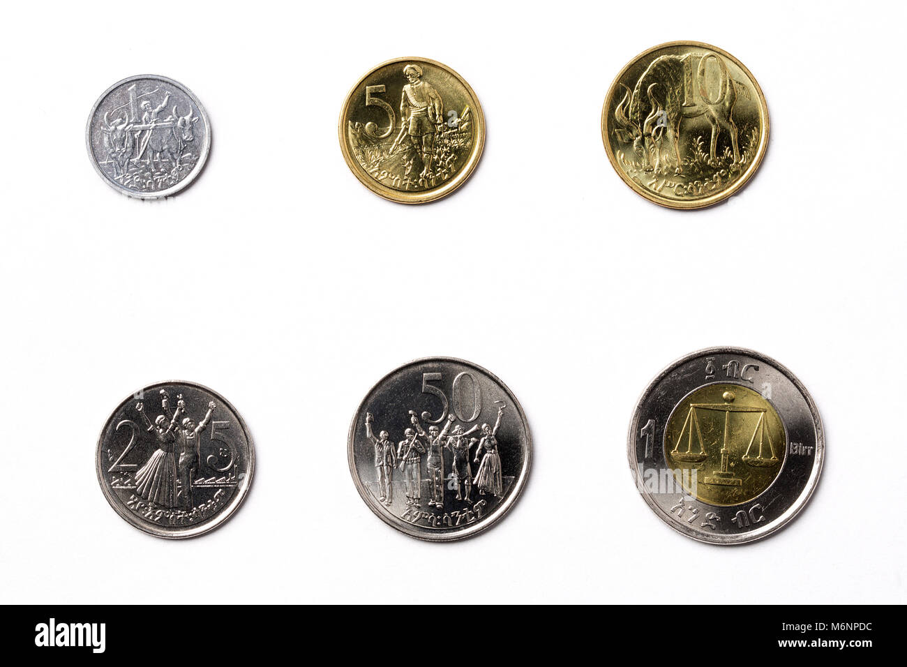 Ethiopian coins on a white background - Stock Image
