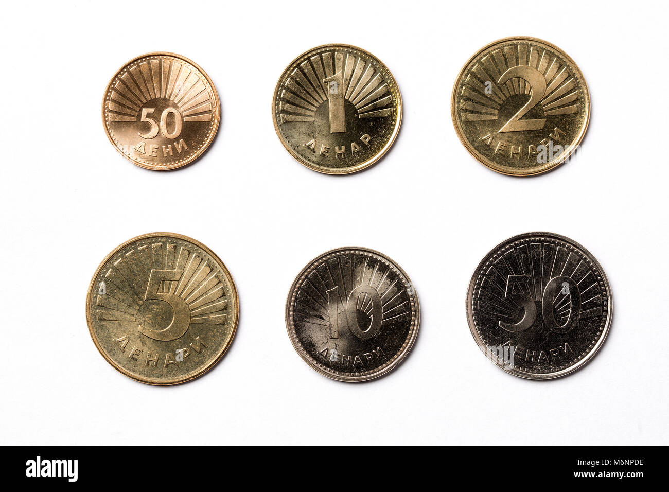 Macedonian coins on a white background - Stock Image