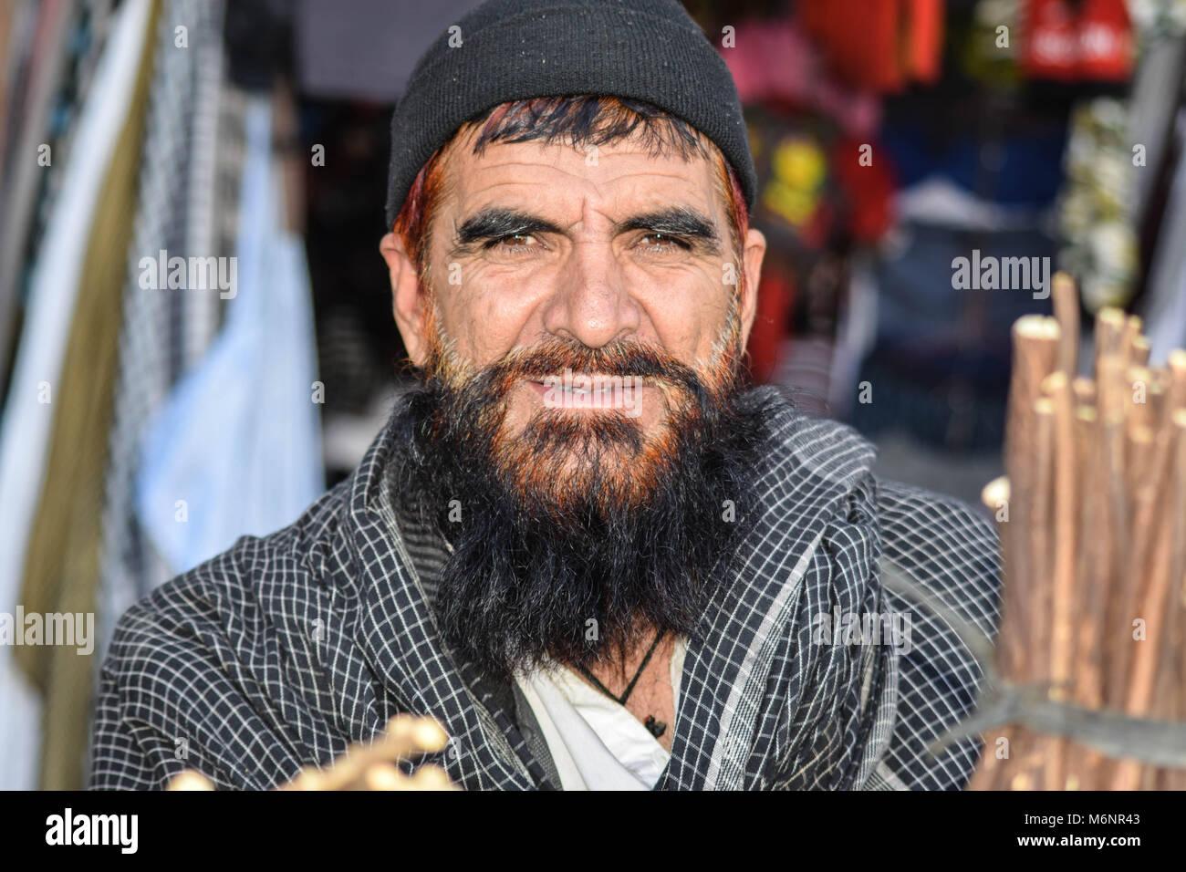 Afghan Man Miswak Seller - Stock Image