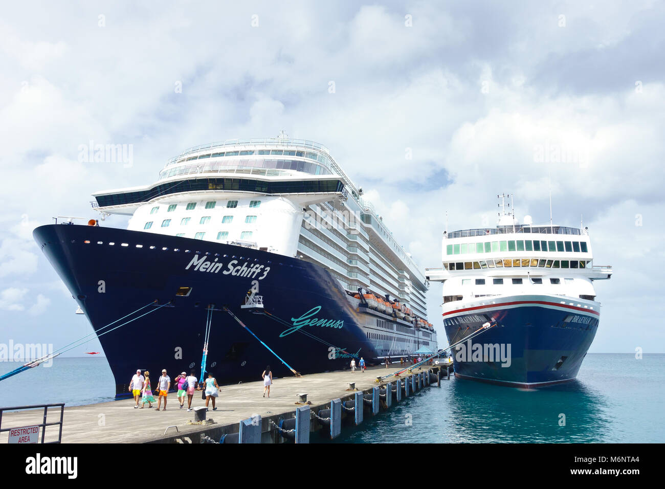 Cruise liner ships Mein Schiff 3 and Braemar docked at St George's, Grenada, Caribbean - Stock Image