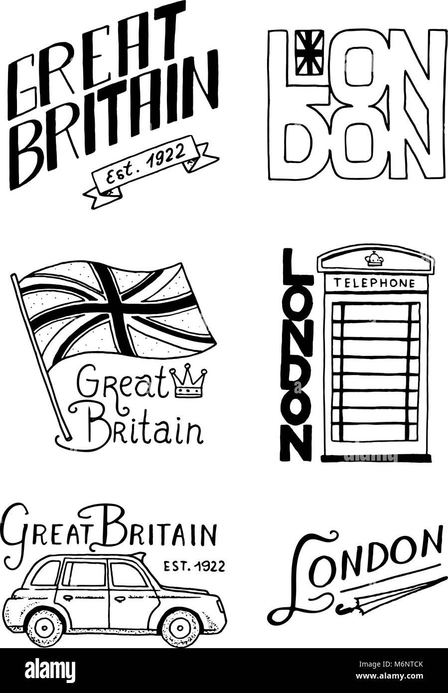 British Logo Symbols Badges Or Stamps Emblems Architectural