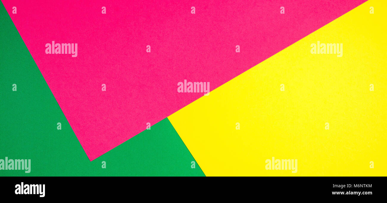 Color papers geometry flat composition banner background with yellow ...