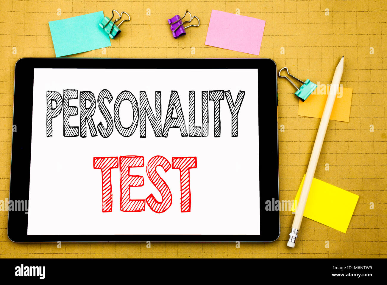Word, writing Personality Test. Business concept for Attitude Assessment Written on laptop, wooden background with - Stock Image