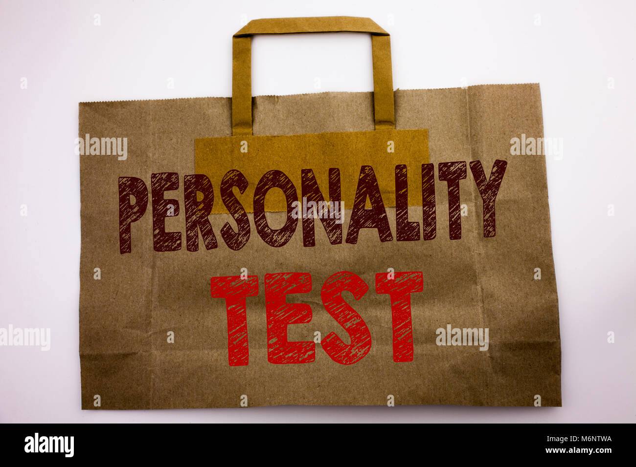 Word, writing Personality Test. Business concept for Attitude Assessment Written shopping bag, white isolated background. - Stock Image