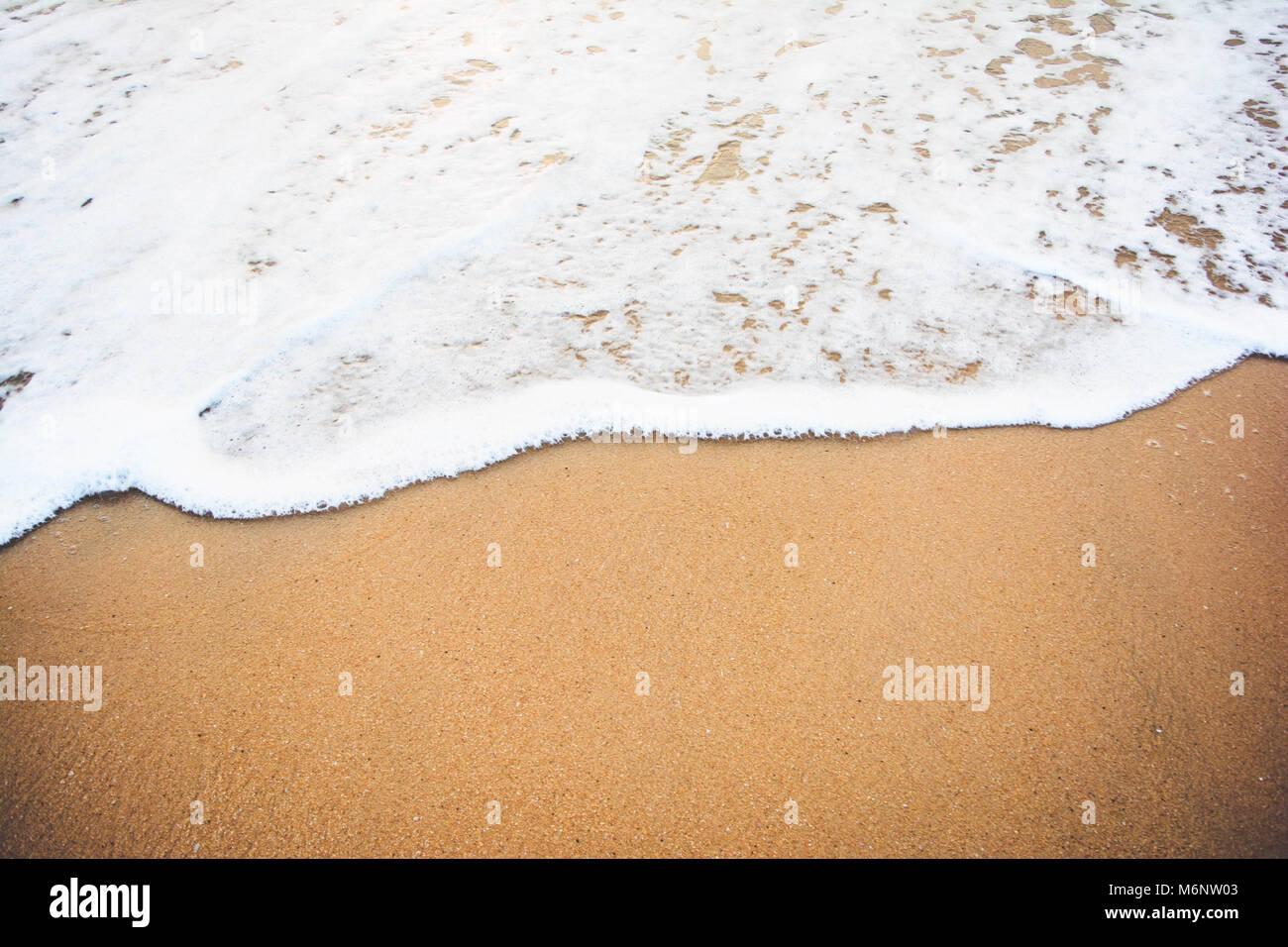 ocean wave on sandy beach - Stock Image
